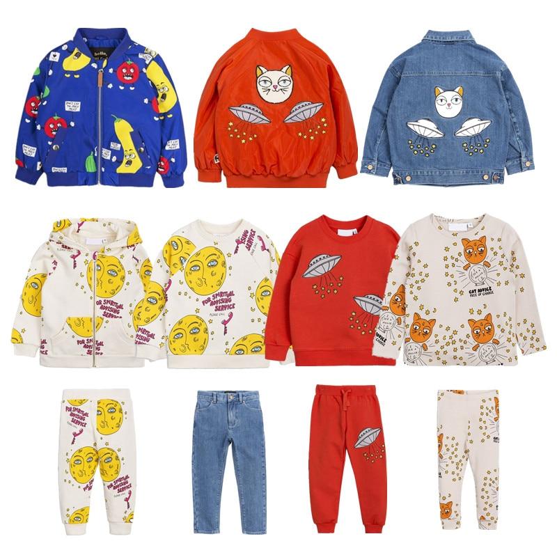 BOBOZONE 2018 Autumn Winter moon jacket sweatshirt and pants Red UFO sweatshirt and pants for kids sets cut and sew panel crop sweatshirt