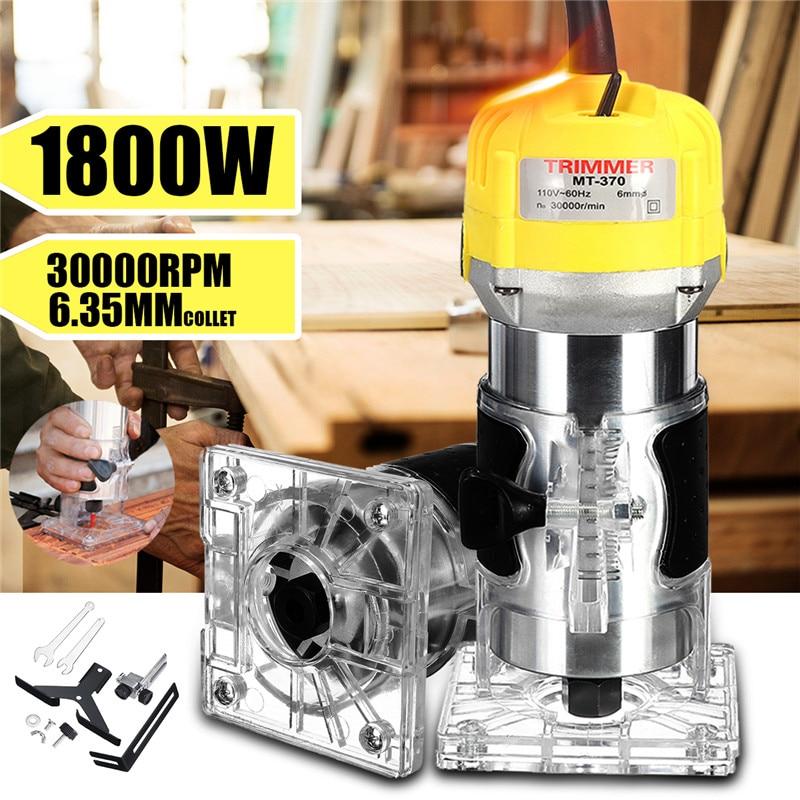 110 V/220 V 1800W tondeuse à main électrique 6.35mm main bois routeur coupe coupe sculpture Machine à bois plastifieuse routeur outil - 6