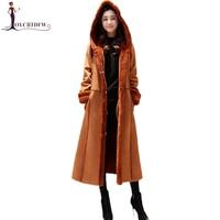 Women Lambswool Coat 2019 Winter New Warm Thickening Long Jacket Fashion Temperament Women Woolen Outerwear Hooded Jacket DD0830
