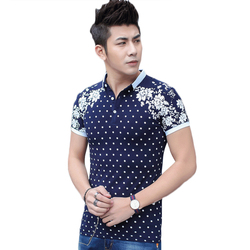 Printed dot and flower decorated good quality soft cotton slim men s polo shirts contrast turn.jpg 250x250