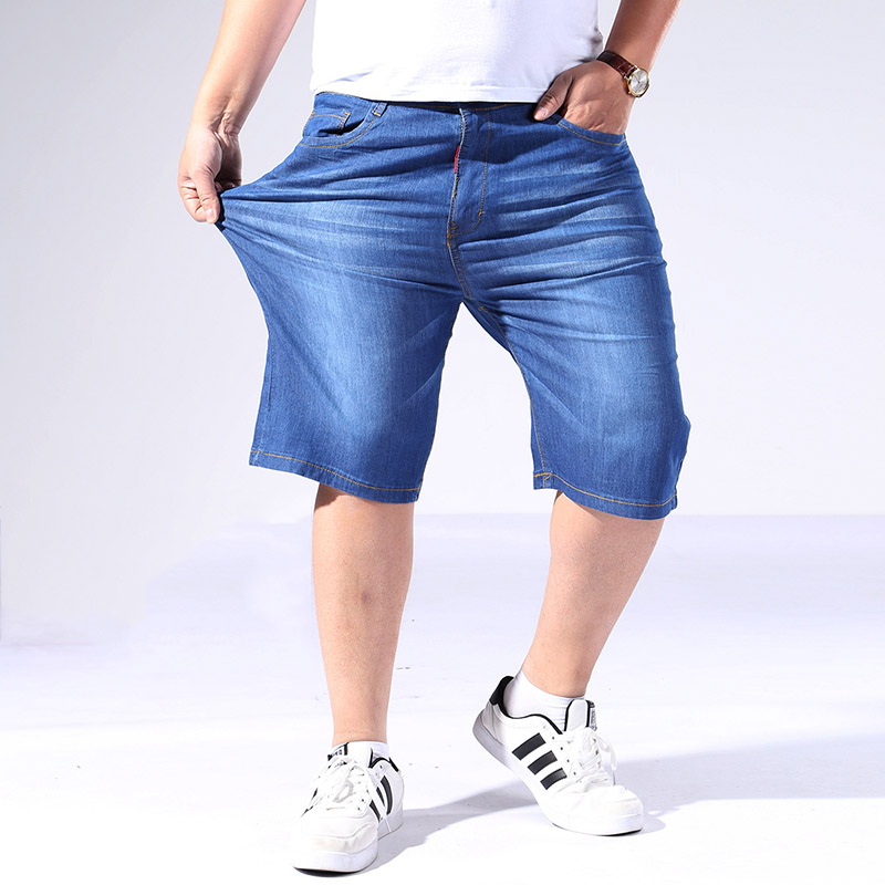 Denim Shorts Cropped Thin Straight Large-Size Summer Casual Loose Fertilizer Knee-Length