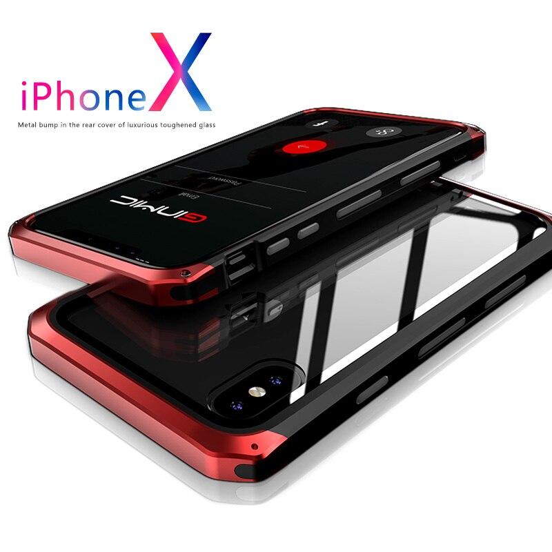 Metall Fall Für iPhoneX Xs Max Fall Xr X 8 Plus 7 Plus Fall mit Glas Farbe Metall Bumper Klar glas Schutz Panel Abdeckung Rüstung