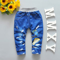 2016 New Autumn baby boys jeans with foot print soft material children pants B046