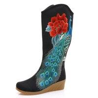 Yeni 2017 Sonbahar Bez Moda Çin Ayakkabı Kadın Çizmeler Kadın Orta Buzağı Botlar Phoenix Nakış Tek Çizmeler Ayakkabı Botas Mujer