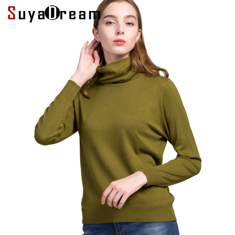 Women Pullovers 85 Silk 15 Cashmere knitted Soft sweaters Turtleneck pullover 2017 FALL Winter Bottoming knit