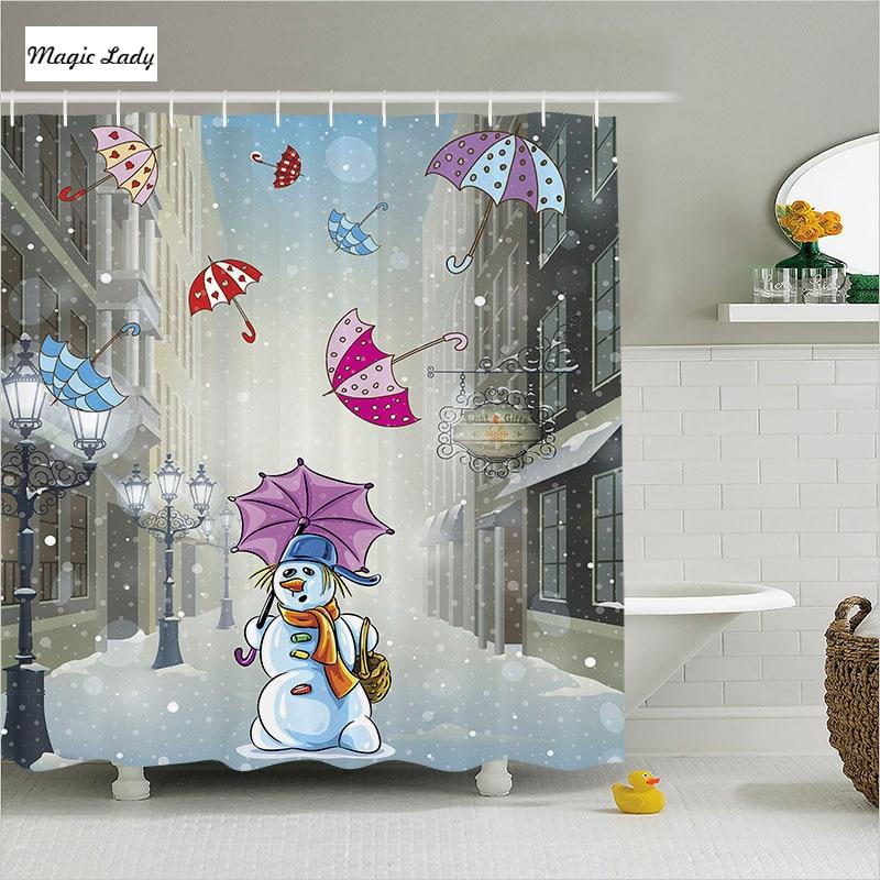 Strange Home Decor: Shower Curtain Unique Bathroom Accessories Snowman