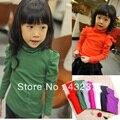 Spring 2016 Children's T-shirt  girls long-sleeved turtleneck shirt bottoming candy color shirt fits kids 3T~10 wholesale