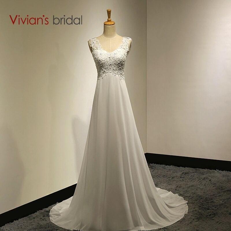 Vivians Bridal Summer Sexy Lace Appliques Chiffon Beach Wedding Dress Boho Cheap Robe De Mariage Bridal Gown Casamento VB10