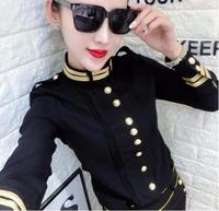 plus size 3XL!Military style single breasted shirt women long sleeve fashion slim stand collar women tops blouse