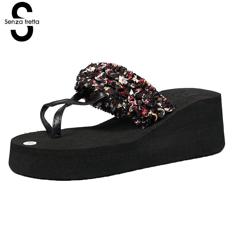 Senza Fretta Women Shoes Bohemia Slippers Flowers Flip Flops Women Poe Platform Wedge Flip Flops Outdoor Beach Flip Flops Shoes фоторамка senza 20х25 см хром 956444