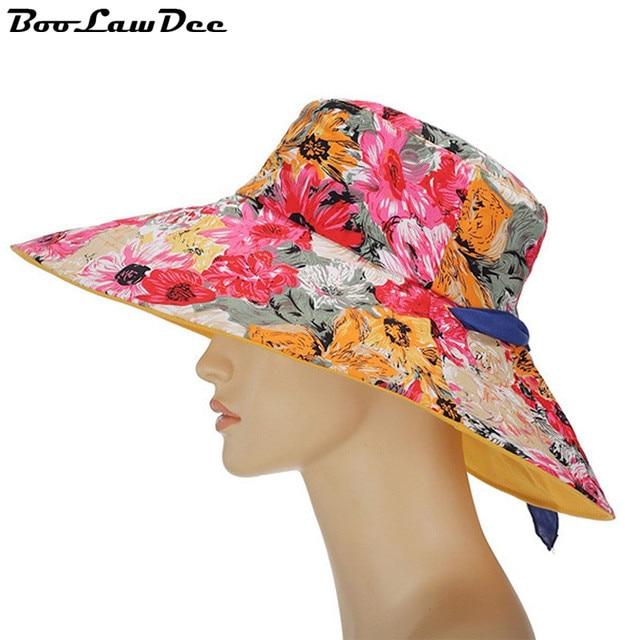 BooLawDee Летнее солнце печати цветочные хлопок пляж шляпы большой наполнянный до краев женский досуг cap поглощение пота дышащий свободный размер 4F214