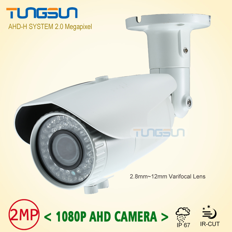 New 2MP HD CCTV AHD Camera 1080p Zoom 2.8~12mm Lens Security Varifocal White Bullet Surveillance 42 Infrared Outdoor Waterproof new 2mp hd cctv ahd camera 1080p zoom 2