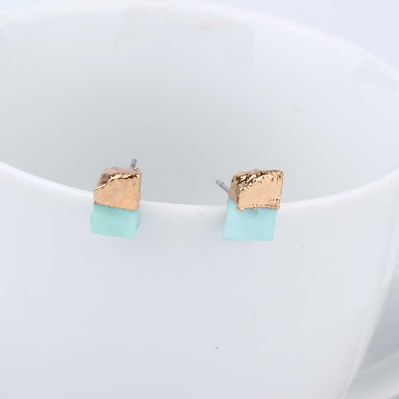 נשי פירסינג אוזן הרבעה קטן גיאומטרי עגילים לנשים תכשיטי טרנדי שרף עגילי Earstud מתנה בוהמיה עגילים