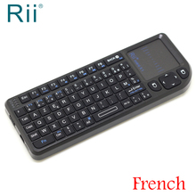 [Бесплатная доставка] оригинальная Rii K01 (x1) 2,4G Беспроводной французский версия мини-клавиатура/воздуха Мышь + сенсорная панель для Android ТВ/ПК