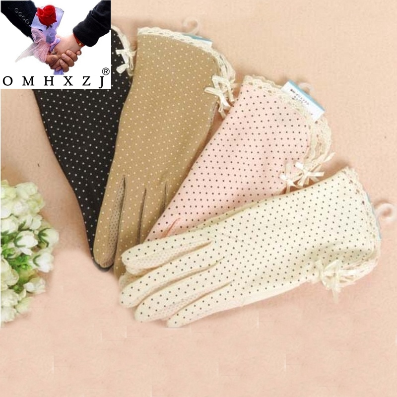 OMH Summer Sunscreen Gloves Drive Antiskid Ultraviolet Women Cycling Thin Shade Cotton Gloves Dots Bowknot Bandage Style ST18
