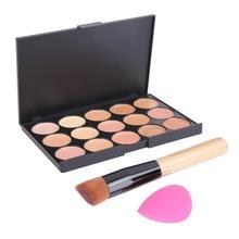 15 Colors Concealer Contour Makeup Palette + Foundation Brush + Sponge Puff  Makeup Naked Camouflage Face Cream Makeup Set