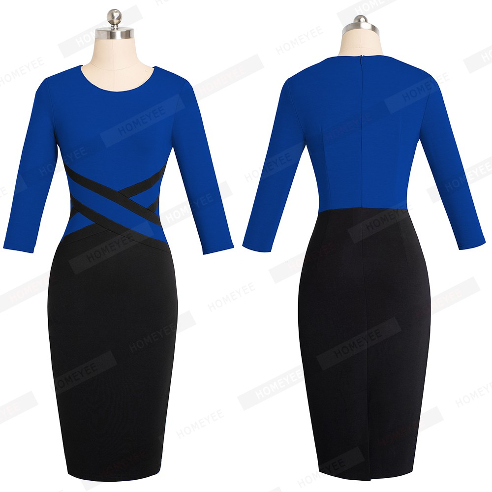 Lady Patchwork Contrast Autumn Casual Business Office Dress Work Elegant Three Quarter and short Sleeve Bodycon Dress EB463 10
