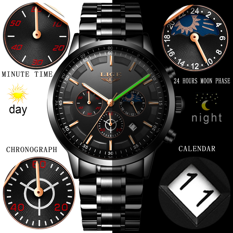 Fashion Mens Watches LIGE Top Brand Waterproof Sport Watch Chronograph Men Casual Stainless Steel Quartz Clock Relogio Masculino 5