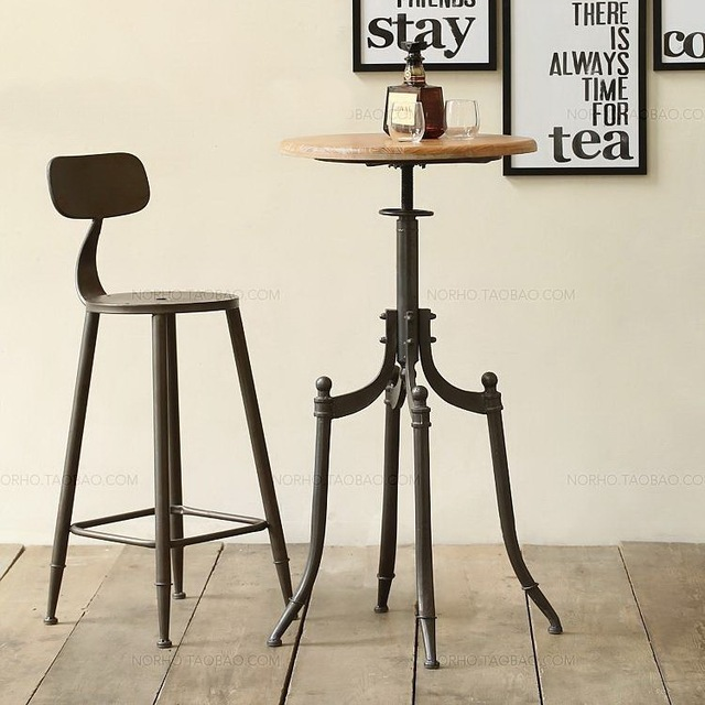 Beau Vintage Metal Bar Chair, Bar Table Lift, 100% Wooden Bar Table, Anti