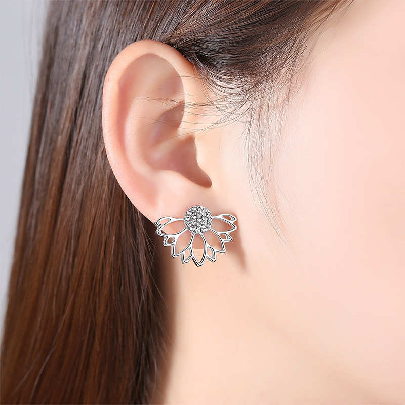 X&P Fashion Luxury Flower Stud Earrings for Women Girl Lotus Crystal Jacket Double Sided Gold Silver Plated Earring Jewelry Gift