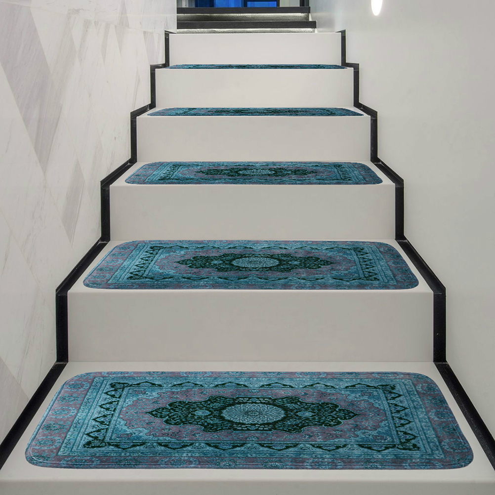 Washable Stair Treads Carpet Tread Rugs Rubber Backing Self-adhesive Stair Mats Carpets For Office Home Decoration