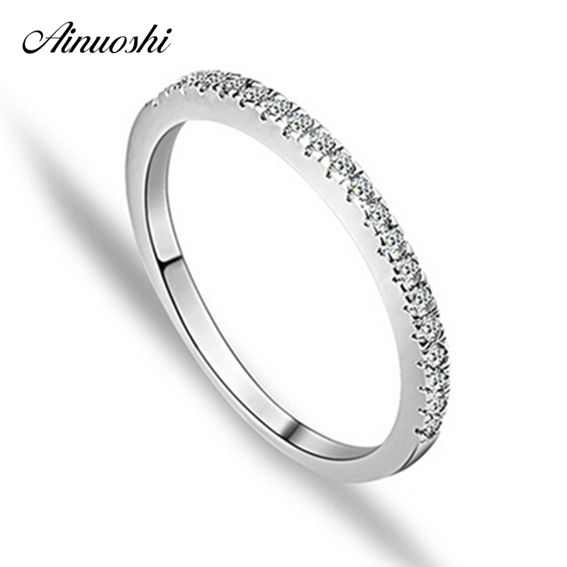 AINUOSHI Classic Row Drill Engagement Ring 925 Sterling Silver Rings for Women Wedding Rings Anel Aneis Ouro Anillos Party Gift