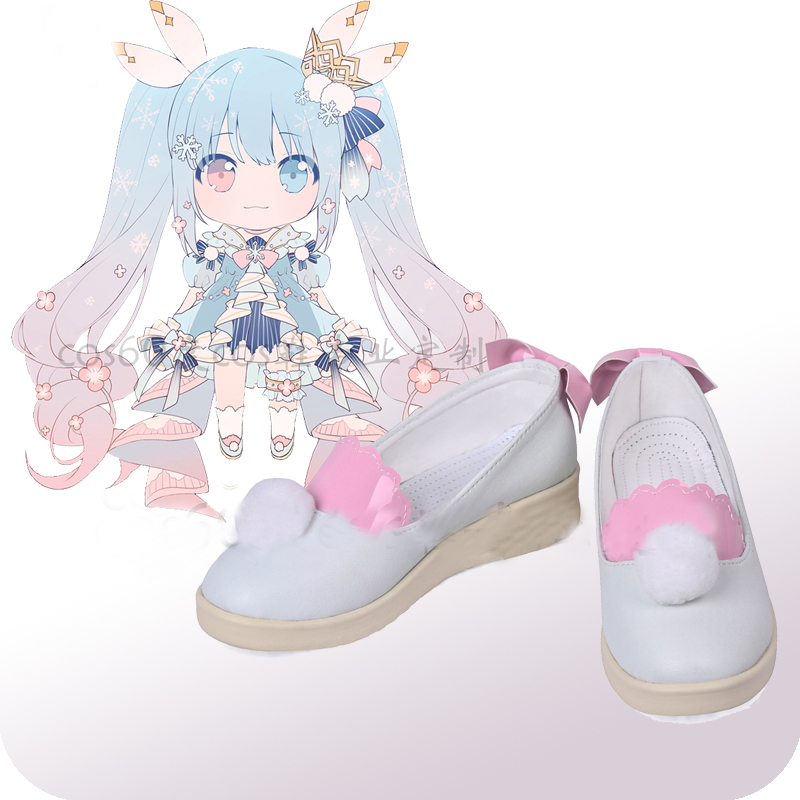 Vocaloid Hatsune Miku Snowmiku White Cosplay Shoes Boots Halloween Carnival Cosplay Costume Accessories