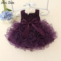איני אינו בייב ילדים תינוק בן יומו בנות Bow חרוזים שמלות הטבלה כותנות Vestido שמלת יום הולדת נסיכת Infantil 0-2 שנים תלבושות