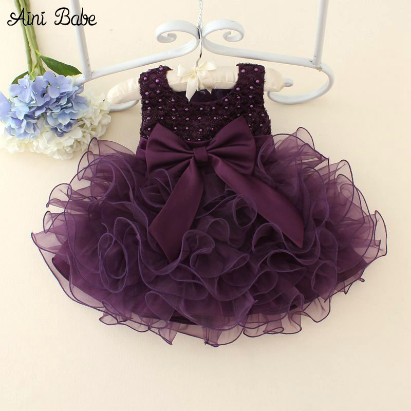 Aini Babe Newborn Baby Girls Dresses Beads Bow Kids Christening Gowns 0-2 Years Birthday Dress Vestido Infantil Princess Outfits