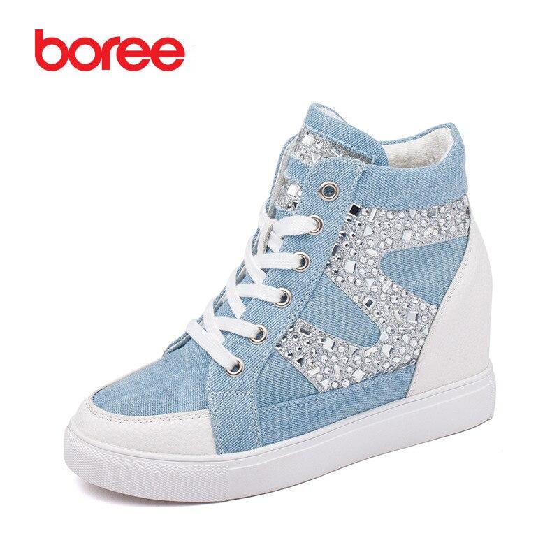 Femmes de Mode Hauteur Croissante Casual Chaussures Respirant Denim Tissu Diamant Classique Haut-Dessus Mujer Zapatos Casuais 80806