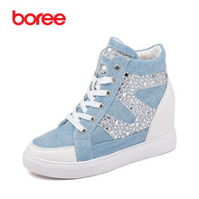 Women 's Fashion Height Increasing Casual Shoes,Breathable Denim Fabric,Diamond Decor Classic High-Top,Mujer Zapatos Casuais 489