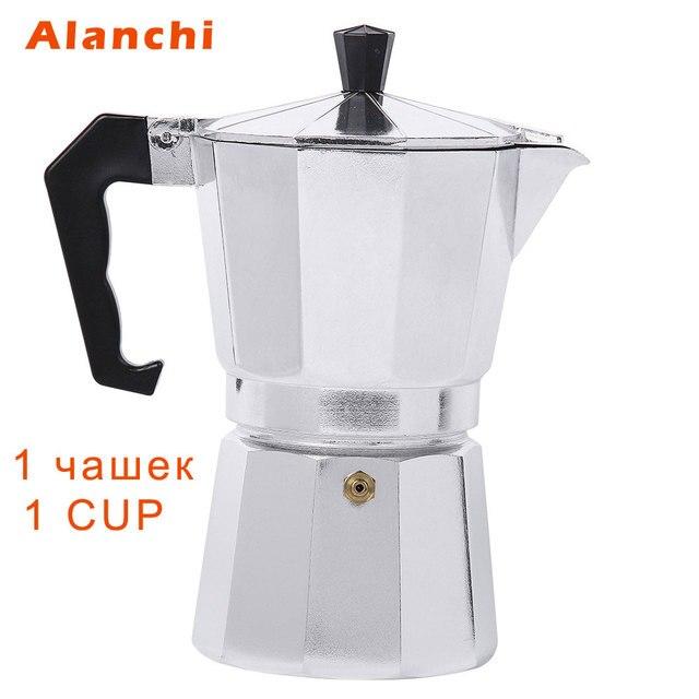 New 1 Cups 50ml Moka Espresso Coffee Maker Machine Glantop Aluminum