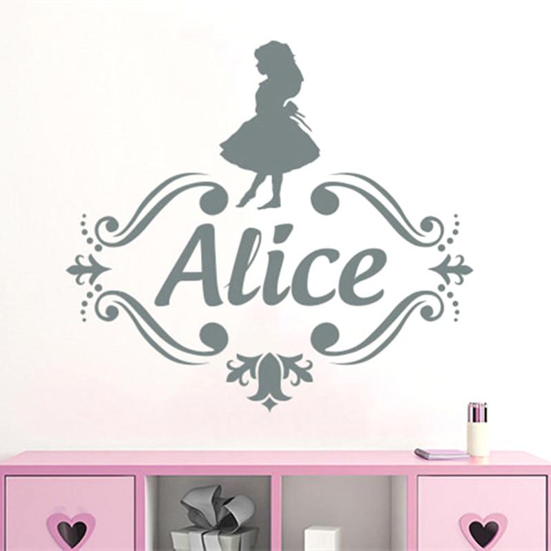 YOYOYU Custom Name Vinyl Wall Decal Kids Nursery Room Decals Girls  Personalized Name Wall Sticker Alice In Wonderland DecorSY489