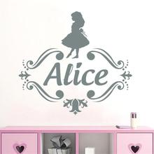 YOYOYU Custom Name Vinyl Wall Decal Kids Nursery Room Decals Girls Personalized Sticker Alice in Wonderland DecorSY489
