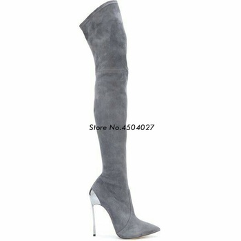Women Over The Knee Boots Gray Suede Thigh High Boots  Ladies Fashion Thin High Heels Boots Shoes Woman