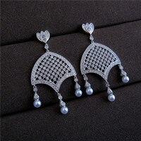 Vintage AAA Cubic Zirconia Chandelier Pearl Drop Earrings Women S Accessaries H7882