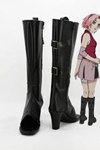 Горячая Аниме Наруто Харуно Сакура Косплей Boots Обувь Черный ПУ Заказ Для Женщин Девочек