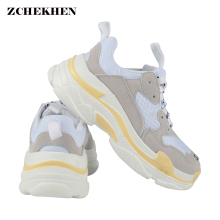 2018 Autumn Women chunky Sneakers Vintage Fashion Breathable Casual Shoes chaussure femme Lace-up Flat Platform Shoes White 11