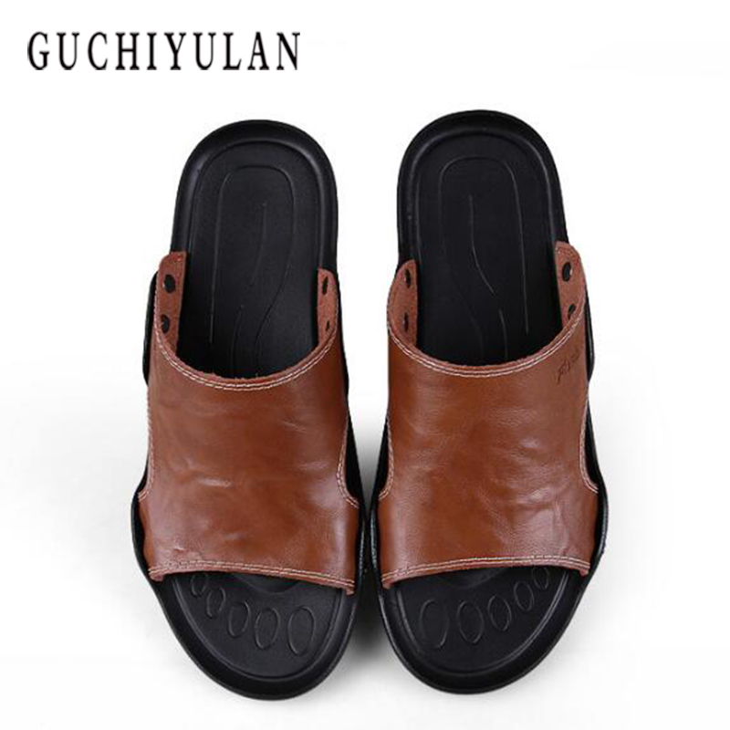 sandalen heren Summer Mens Sandals Fashion Genuine Leather Beach Shoes Mens Casual Massage Non-Slip Large Size Slippers Flats