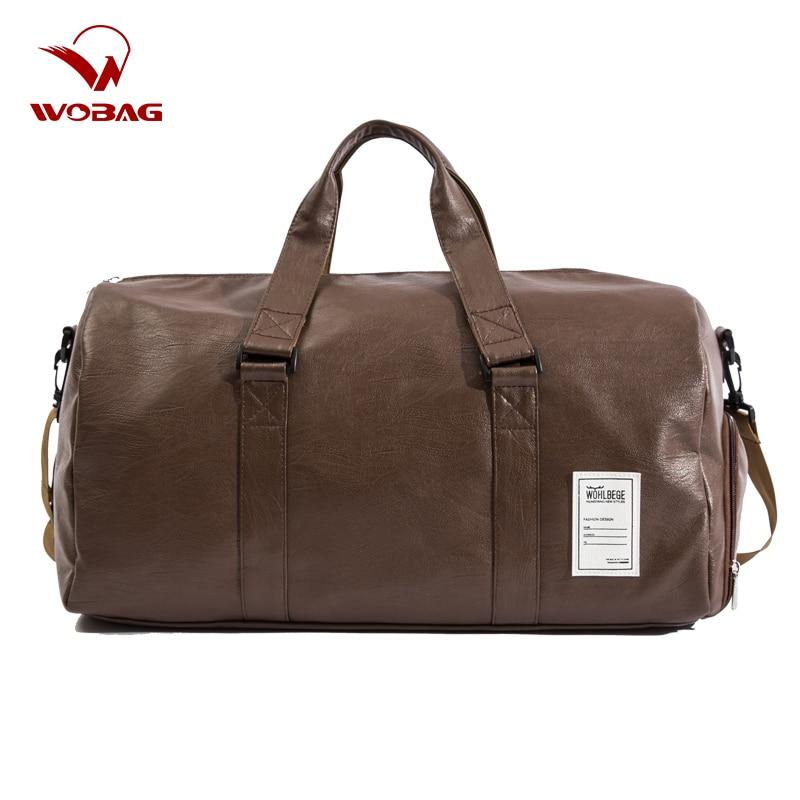 Men Travel Bag Large Duffle Independent Shoes Storage Big Fitness PU Leather Women Handbag Bags Luggage Shoulder Bag