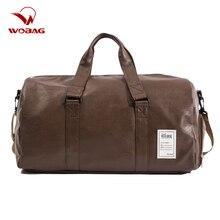 Sac de sport en cuir PU étanche, sac de sport pour hommes et femmes, sac polochon de voyage pour week end grande capacité