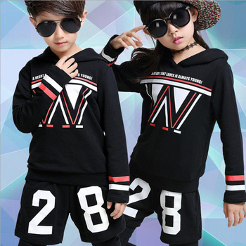Boys Modern Jazz Dancewear Outfits Kids Hip Hop Party Ballroom Dance Costumes Sweatpants + dancing Hoodie costumes for Girls