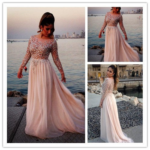 2015 Long Sparkly Prom Dresses Fitted Long Sleeve Prom ...