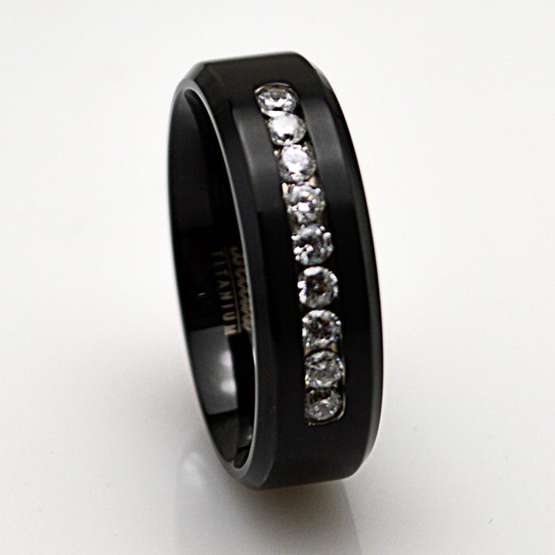 8MM Mens Titanium Matte CZ Wedding Bands Ring Free Engraving Size 9 to 13