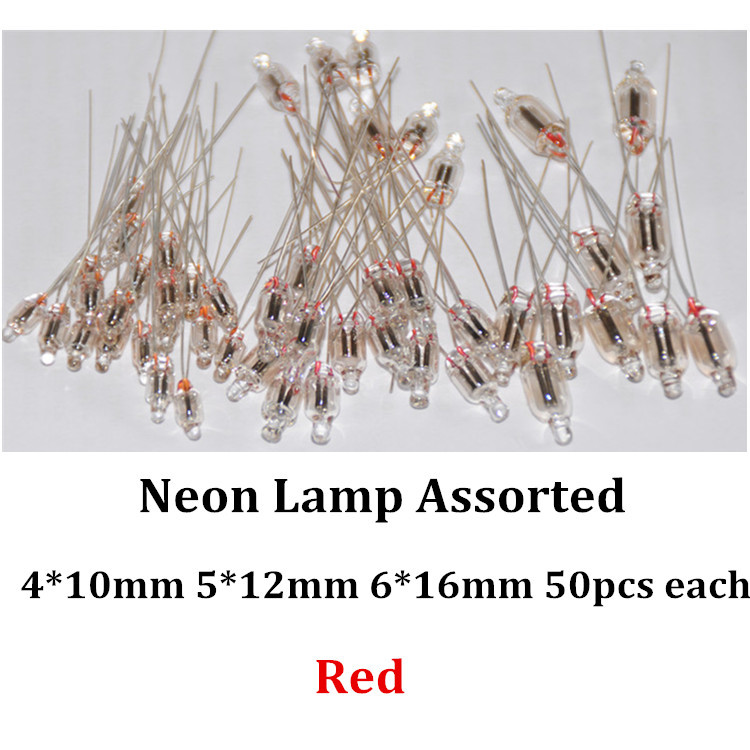 150pcs Red Neon Light Sign Indicator Bulb Lamp 4mm 5mm 6mm 50pcs Each Vermelho Neon Light Bulb Lampada Assortment