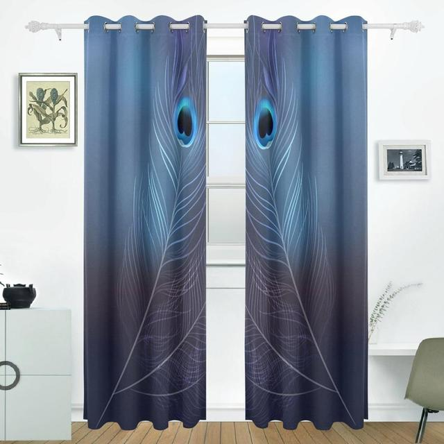 Peacock Feather Curtains Drapes Panels Darkening Blackout Grommet
