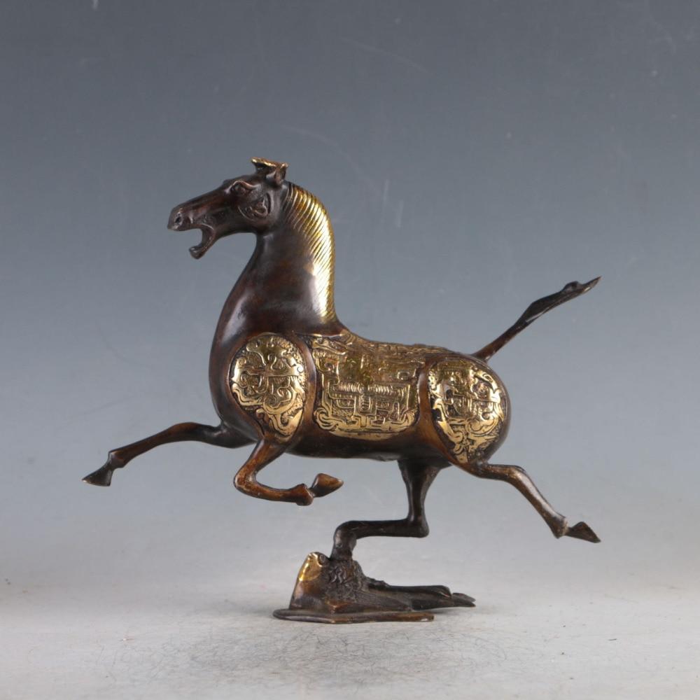 Ancienne Statue d'hirondelle d'équitation en cuivre doré