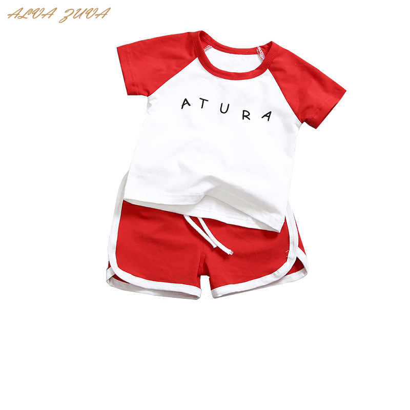 ALVA ZUVA 2018 Summer Children Clothes Sets Patchwork Letter Kids Korean T-Shirts+Shorts Sports Suits For Boys Girls Cyy180