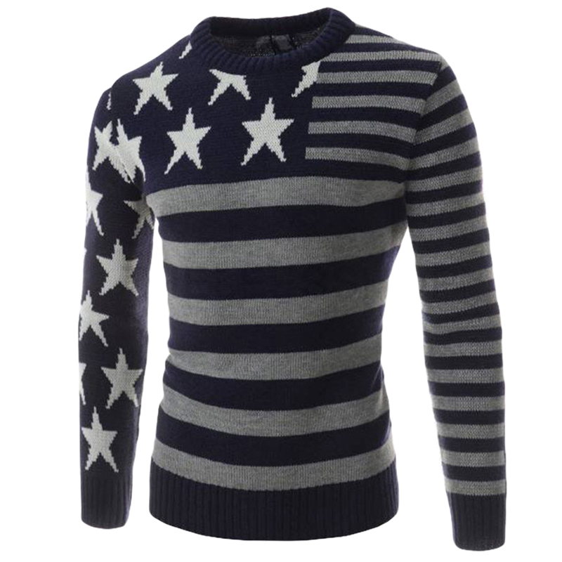 European Style Patchwork Mens Sweaters Star Pattern Long ...