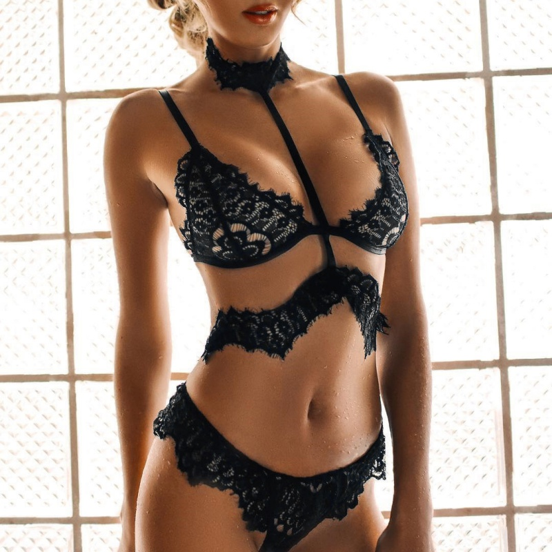 Sexy Hang Neck Bandage Lace Brassiere Ultra-thin Transparent Lingerie Intimates Set Women Push Up Breathable Underwear Pant Sets